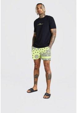 Yellow MAN Signature T-Shirt & Bandana Swim Short Set