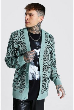 Bandana Knitted Cardigan, Mint