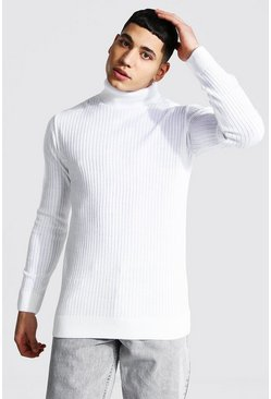 White Ribbed Roll Neck Sweater