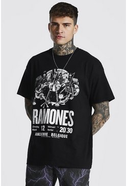 Black Oversized Ramones License T-shirt