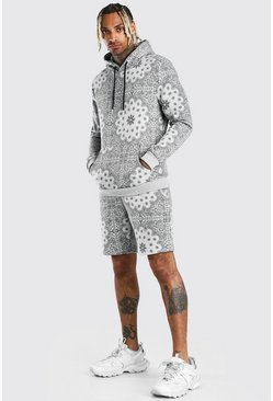 Grey Bandana Printed Short Hooded Tracksuit