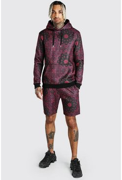 Red Bandana Printed Short Hooded Tracksuit