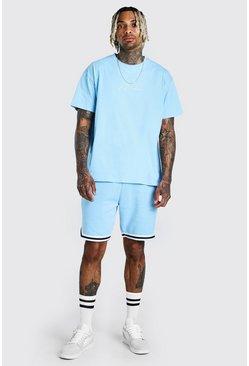 Light blue MAN Signature Tape Short Set With Sports Rib