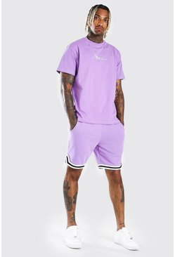 Lilac MAN Signature Tape Short Set With Sports Rib