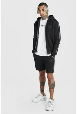 Black Original MAN Zip Hooded Short Tracksuit With Piping