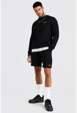 Black Original MAN Tape Sweater Short Tracksuit