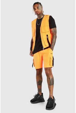 Orange Original MAN Shell Utility Buckle Vest & Short