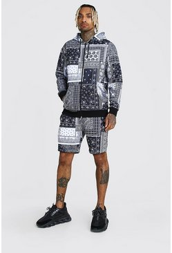 Black Bandana Patch Printed Zip Hooded Short Tracksuit
