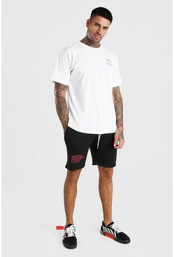 White MAN Official Printed Contrast Short Set