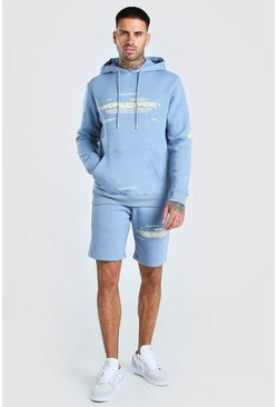 Baby blue MAN Official Lightning Printed Short Tracksuit