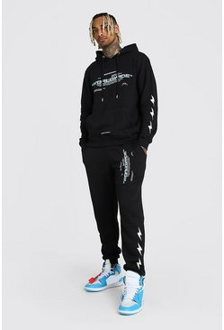 Black MAN Official Lightning Bolt Hooded Tracksuit