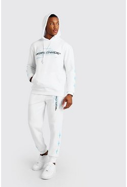 MAN Official Trainingsanzug mit Kapuze und Blitz-Motiv, White