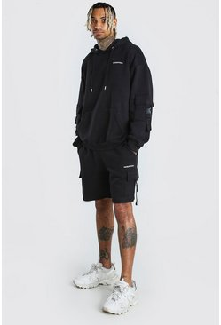 Black Oversized MAN Offical Short Cargo Tracksuit