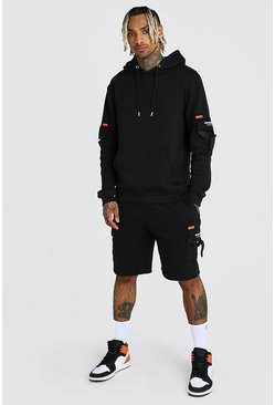 Black MAN Official Cargo Short Tracksuit With Buckles