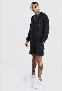 Black Original MAN Utility Short Tracksuit With Buckles