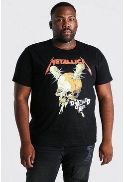 Black Plus Size Metallica Skull License T-Shirt