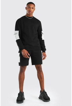 Black Original MAN Cargo Short Sweater Tracksuit