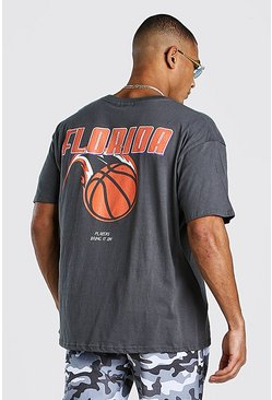 Charcoal Oversized Florida Basketball Print T-Shirt