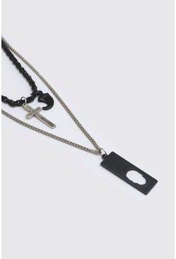 Multi Double Layer Matte Black Detail Necklace