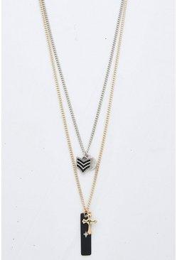 Double Layer Multi Pendant Necklace