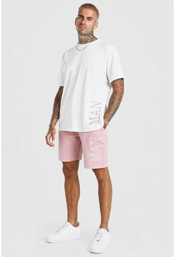 Ecru Contrast MAN Loose Fit T-Shirt And Short Set