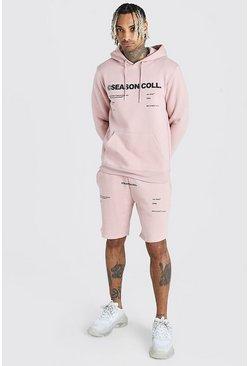 Dusky pink MAN Printed Short Tracksuits