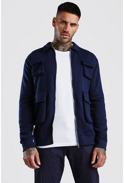 Navy Jersey Utility 4 Pocket Harrington Jacket