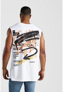 White Oversized MAN Graffiti Back Print Drop Arm Tank