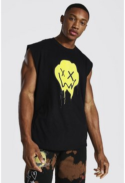 Black Drip Face Print Drop Armhole Tank