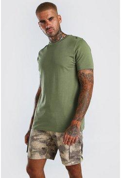 Khaki Basic Crew Neck T-Shirt