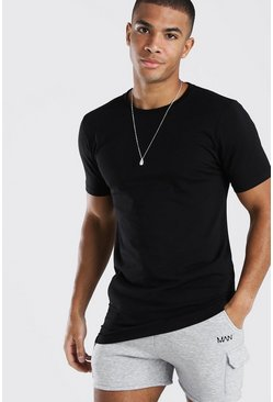 Black Longline Muscle Fit T-Shirt