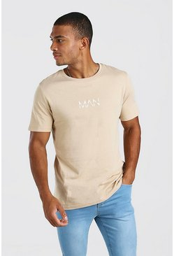 Taupe Original Man Logo Print T-Shirt