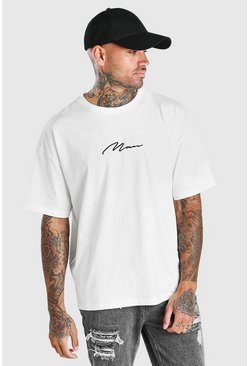 Ecru Oversized MAN Signature Embroidered T-Shirt