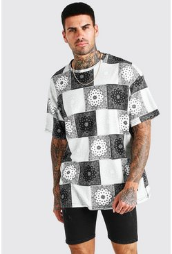 Black Oversized Patchwork Bandana Print T-Shirt