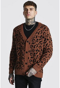 Leopard Oversized Knitted Cardigan, Brown