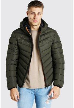 veste zippée matelassée à capuche, Kaki