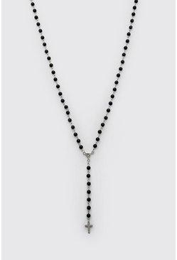 Black Beaded Cross Pendant Necklace