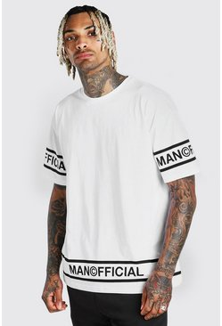 T-shirt coupe oversize MAN Official à ourlet, Blanc