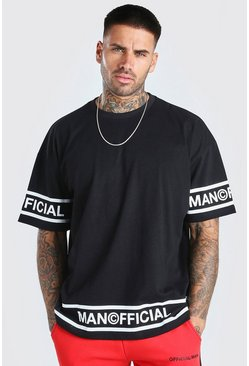 Black Oversized MAN Official Hem Detail T-Shirt