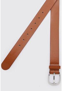 Tan Faux Leather Silver Buckle Belt