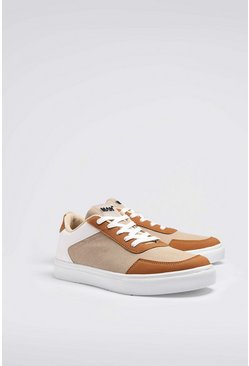 Cream Multi Panel Cupsole Sneaker