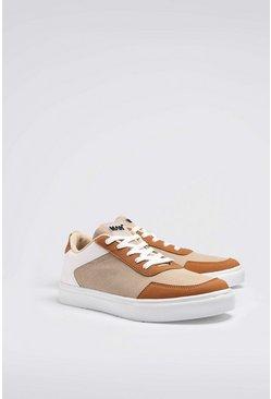Cream Multi Panel Cupsole Sneakers