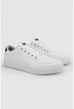 White Hiker Eyelet Cupsole Sneakers