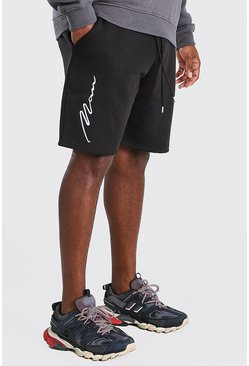 Black Big And Tall 3D MAN Script Embroidered Shorts
