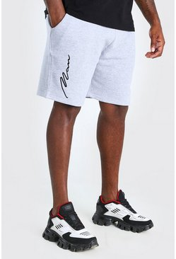 Grey Big And Tall 3D MAN Script Embroidered Shorts
