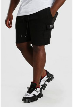 Black Big And Tall Cargo Jersey Multi Branding Shorts