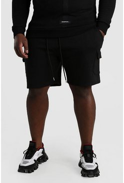 Black Big And Tall Mid Length Cargo Jersey Shorts