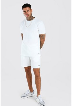 White Stripe Knitted T-Shirt & Short Set With Tab