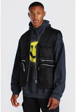 Black Camo Lined Twill Utility Vest