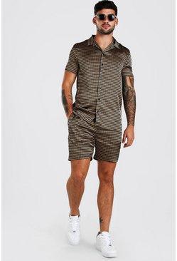 Brown Short Sleeve Satin Dogtooth Skirt And Short Set